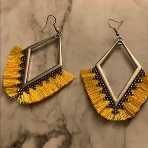 Women's silver tone fringe earrings
